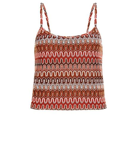 Red Zig Zag Textured Crop Top  | New Look