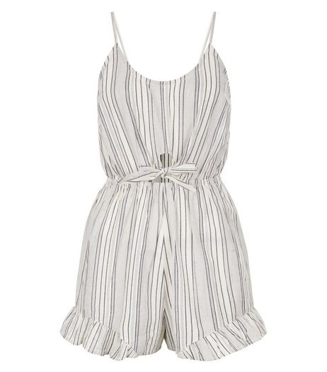 Petite White Stripe Frill Trim Tie Front Playsuit  | New Look