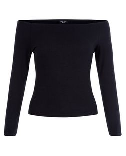 Petite Black Ribbed Bardot Neck Top | New Look