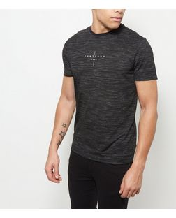 Black Space Dye Portland T-Shirt  | New Look