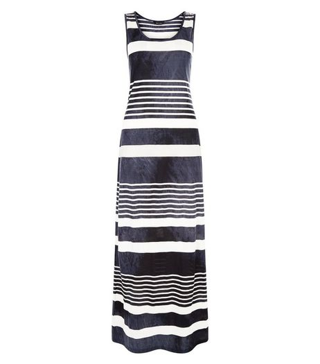 Blue Stripe Burnout Jersey Maxi Dress  | New Look