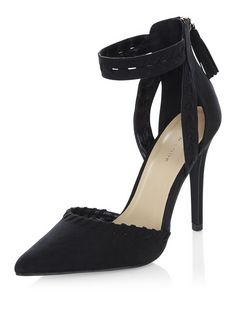 Black Suedette Laser Cut Out Pointed Ankle Strap Heels  | New Look