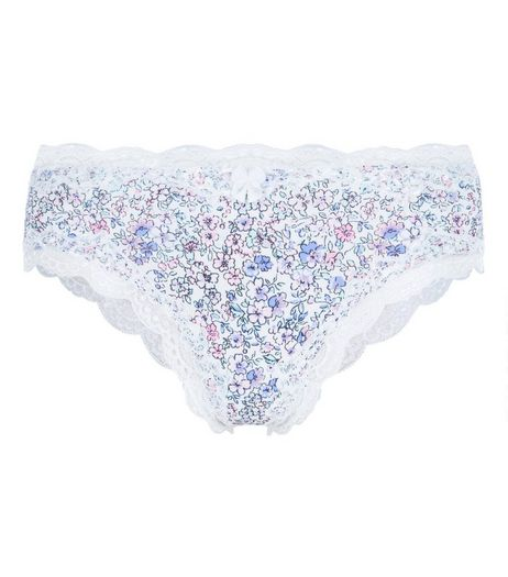 White Floral Print Lace Trim Briefs | New Look