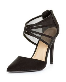 Black Suedette Mesh Panel Pointed Heels  | New Look