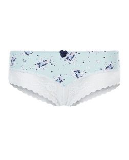 Mint Green Floral Print Lace Leg Brazilian Briefs | New Look