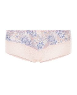 Coral Tropical Print Lace Leg Brazilian Briefs | New Look