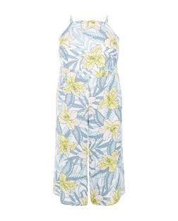 Curves White Floral Print Culotte Jumpsuit | New Look