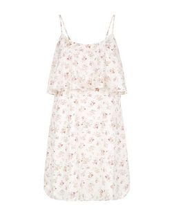 Petite Cream Floral Print Layered Slip Dress | New Look