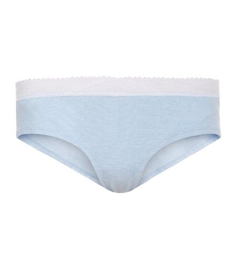 Blue Lace Cross Over Trim Short Briefs | New Look