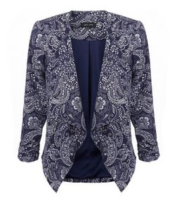 Blue Paisley Print Waterfall Blazer | New Look