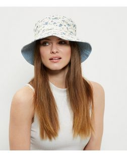White Floral Print Bucket Hat | New Look