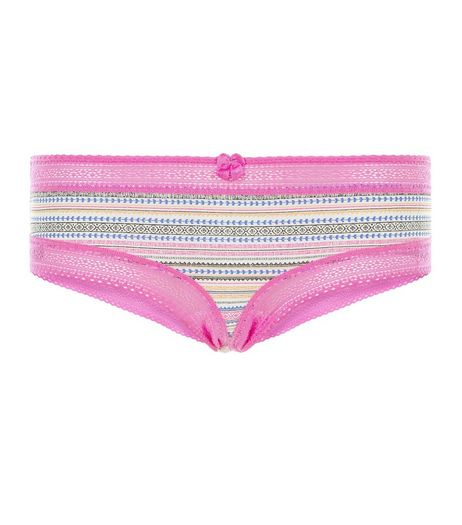 Pink Aztec Print Lace Trim Short Briefs | New Look