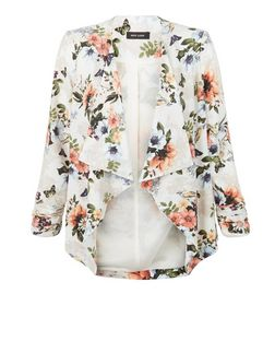 Cream Floral Print Waterfall Blazer  | New Look