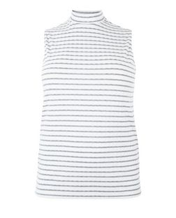 Curves White Stripe Ribbed High Neck Top | New Look