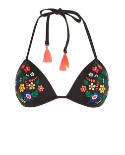 Black Floral Embroidered Bikini Top | New Look