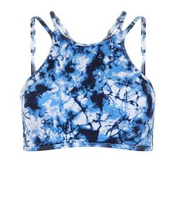Blue Tie Dye High Neck Bikini Top | New Look