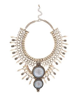 Brown Stone Bib Necklace | New Look
