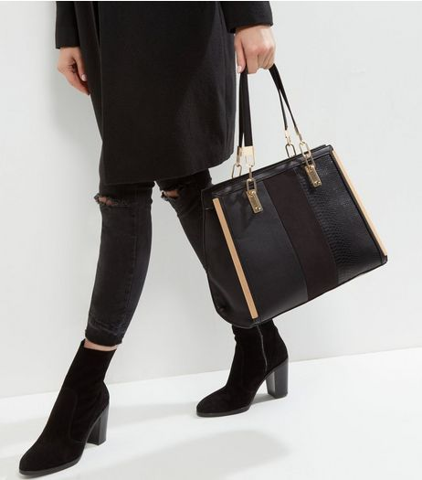 Black Snakeskin Panel Chain Handle Tote Bag | New Look