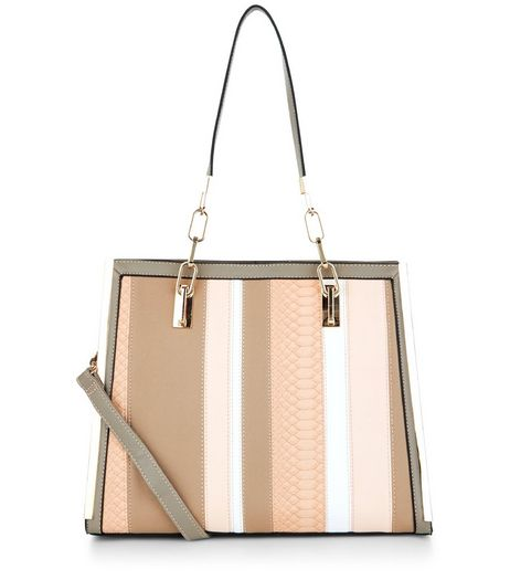 Mink Patchwork Stripe Shoulder Bag  | New Look