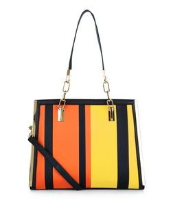 Yellow Stripe Panelled Shoulder Bag  | New Look