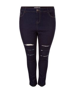 Curves Navy Ripped Knee Skinny Jeans | New Look