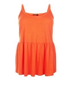 Plus Size Orange Peplum Dip Hem Cami | New Look