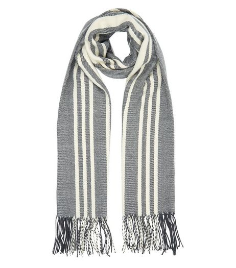 Cream Stripe Fringed Scarf  | New Look