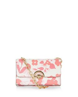 Pink Floral Print Chunky Chain Shoulder Bag  | New Look