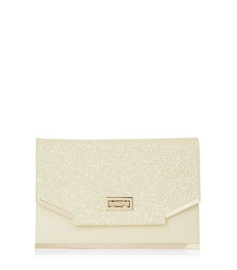 Yellow Glitter Clutch  | New Look