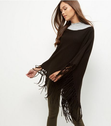 Black Fringed Poncho  | New Look