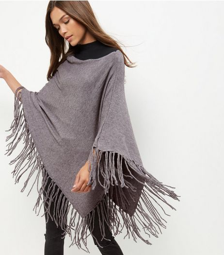Grey Fringed Poncho | New Look