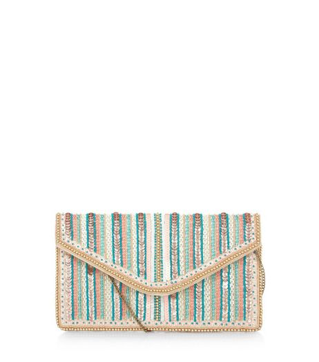 Pink Sequin Stripe Clutch  | New Look