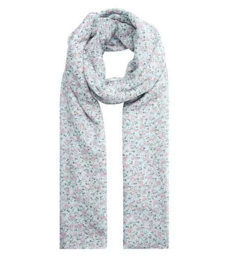 Mint Green Ditsy Floral Print Longline Scarf  | New Look