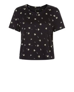 Black Daisy Floral Print Boxy T-Shirt  | New Look
