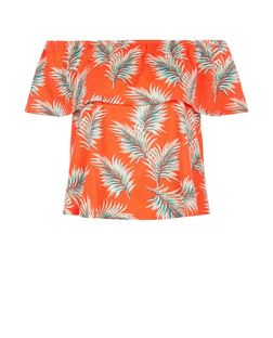 Red Palm Leaf Print Frill Bardot Neck Top  | New Look