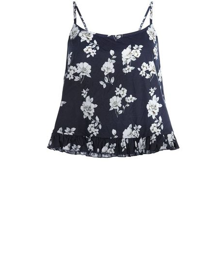 Black Rose Print Peplum Cami  | New Look