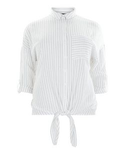 Curves White Stripe Tie Front Shirt | New Look