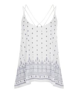 White Tile Print Double Strap Hanky Hem Cami | New Look