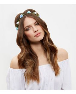 Mint Green and Blue Flower Hair Garland | New Look