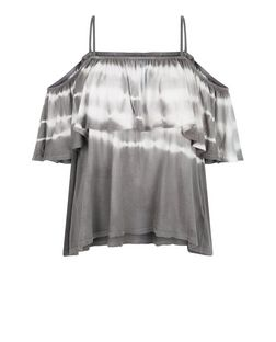 Dark Grey Tie Dye Print Cold Shoulder Frill Top | New Look