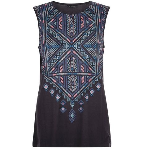 Black Abstact Print Panel Tank Top  | New Look
