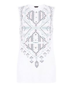 White Abstract Print Panel Tank Top  | New Look