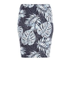 Curves Blue Tropical Print Pencil Skirt | New Look