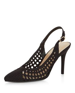 Black Woven Cut Out Sling Back Pointed Heels | New Look