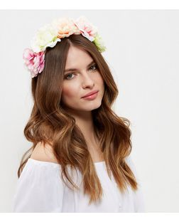 Neon Multicoloured Oversized Flower Headband | New Look