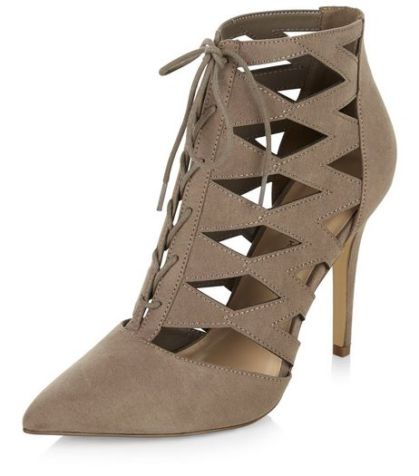 Light Brown Suedette Cut Out Pointed Ghillie Heels  | New Look