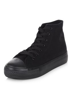 Black Lace Up Hi-Top Flatform Plimsolls | New Look