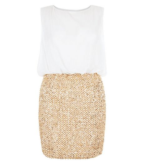 Girl in Mind Gold Sequin 2 in 1 Dress | New Look