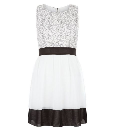 Girl in Mind Cream Floral Print Lace Skater Dress | New Look