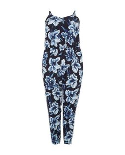 Curves Blue Tropical Print Jumpsuit | New Look